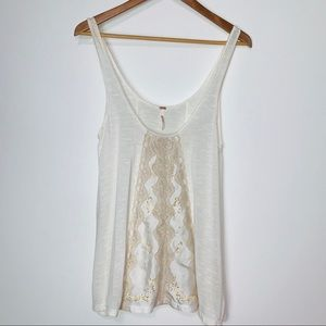 Free People Sheer Cream Tank with Satin & Lace